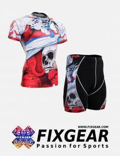 FIXGEAR CFS-P2S-B19R Set Compression Base Layer Shirt & Compression Drawer Shorts