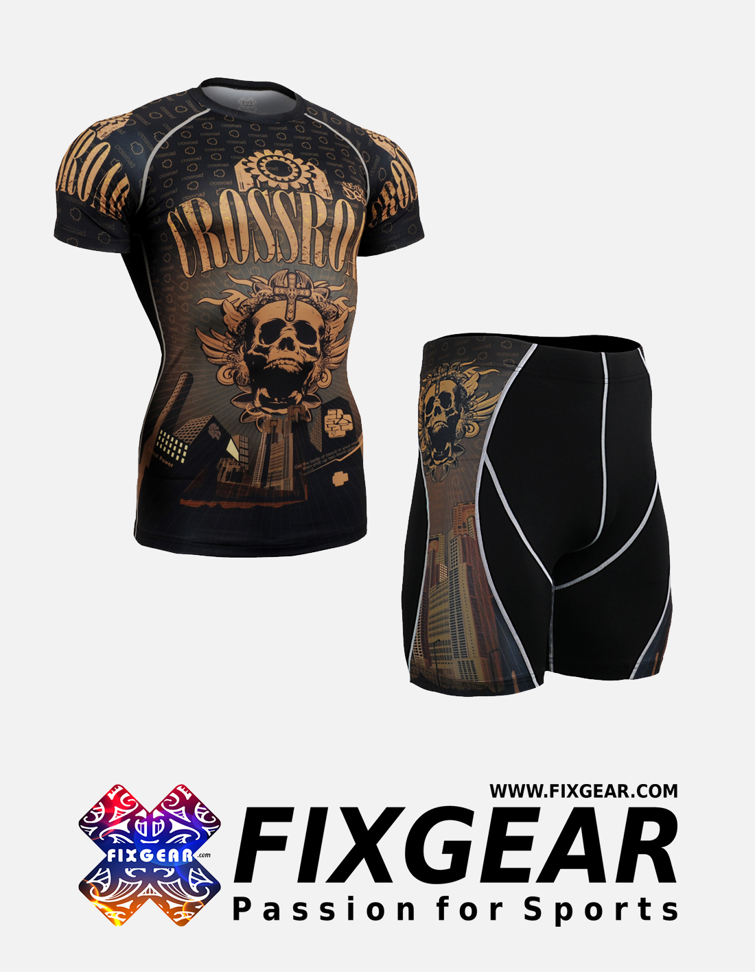 FIXGEAR CFS-P2S-B27 Set Compression Base Layer Shirt & Compression Drawer Shorts