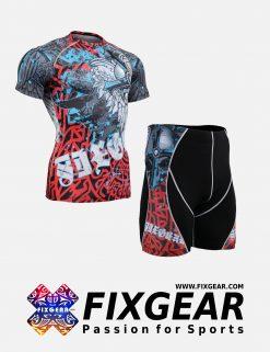FIXGEAR CFS-P2S-B73 Set Compression Base Layer Shirt & Compression Drawer Shorts