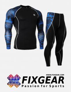 FIXGEAR CPD-P2L-B1 Set Compression Base Layer Shirt & Legging Pants