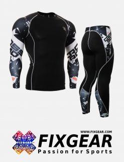 FIXGEAR CPD-P2L-B17 Set Compression Base Layer Shirt & Legging Pants