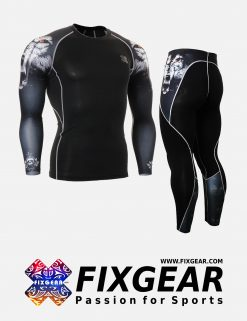FIXGEAR CPD-P2L-B18 Set Compression Base Layer Shirt & Legging Pants