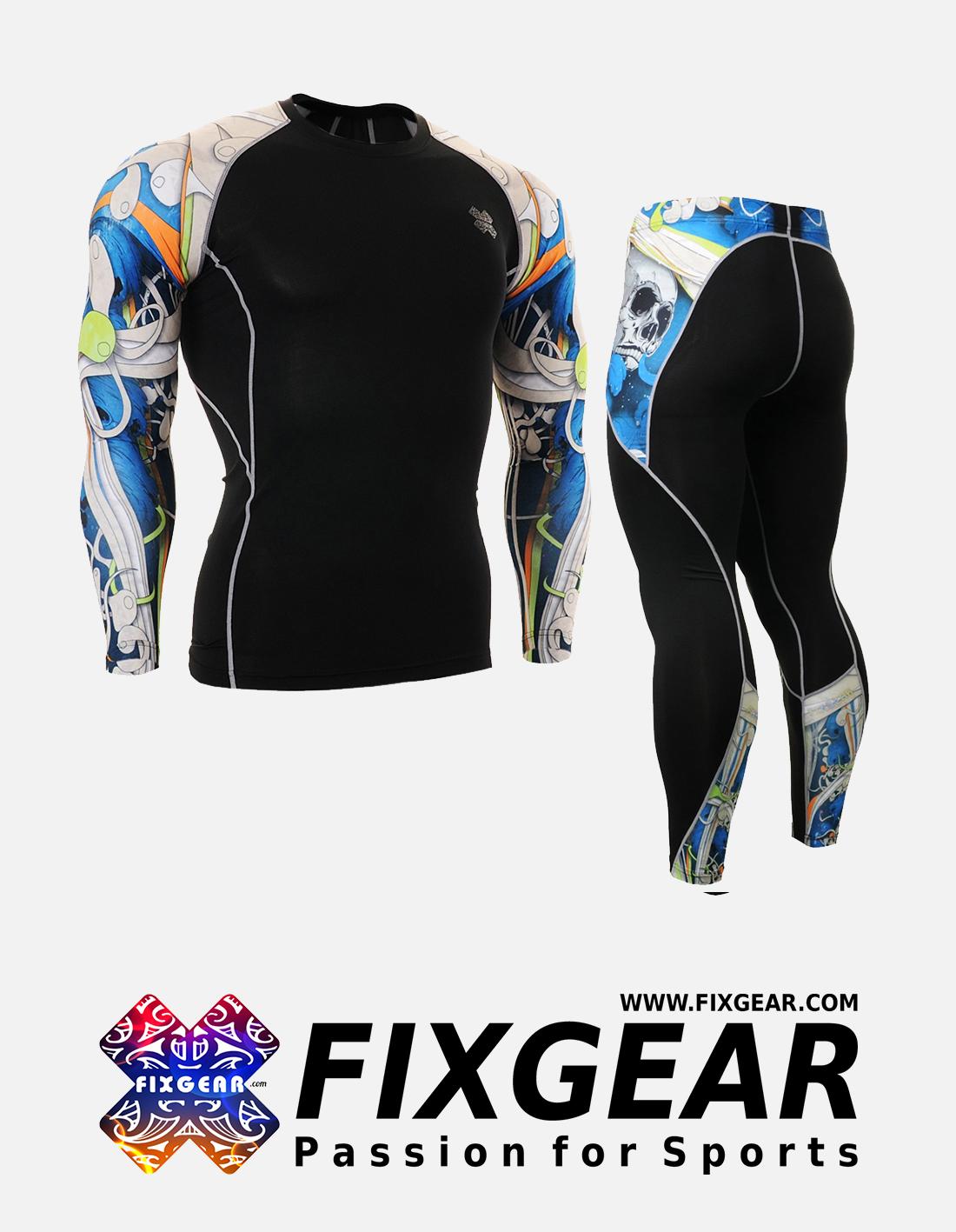 FIXGEAR CPD-P2L-B19B Set Compression Base Layer Shirt & Legging Pants