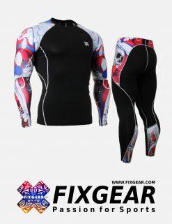 FIXGEAR CPD-P2L-B19R Set Compression Base Layer Shirt & Legging Pants