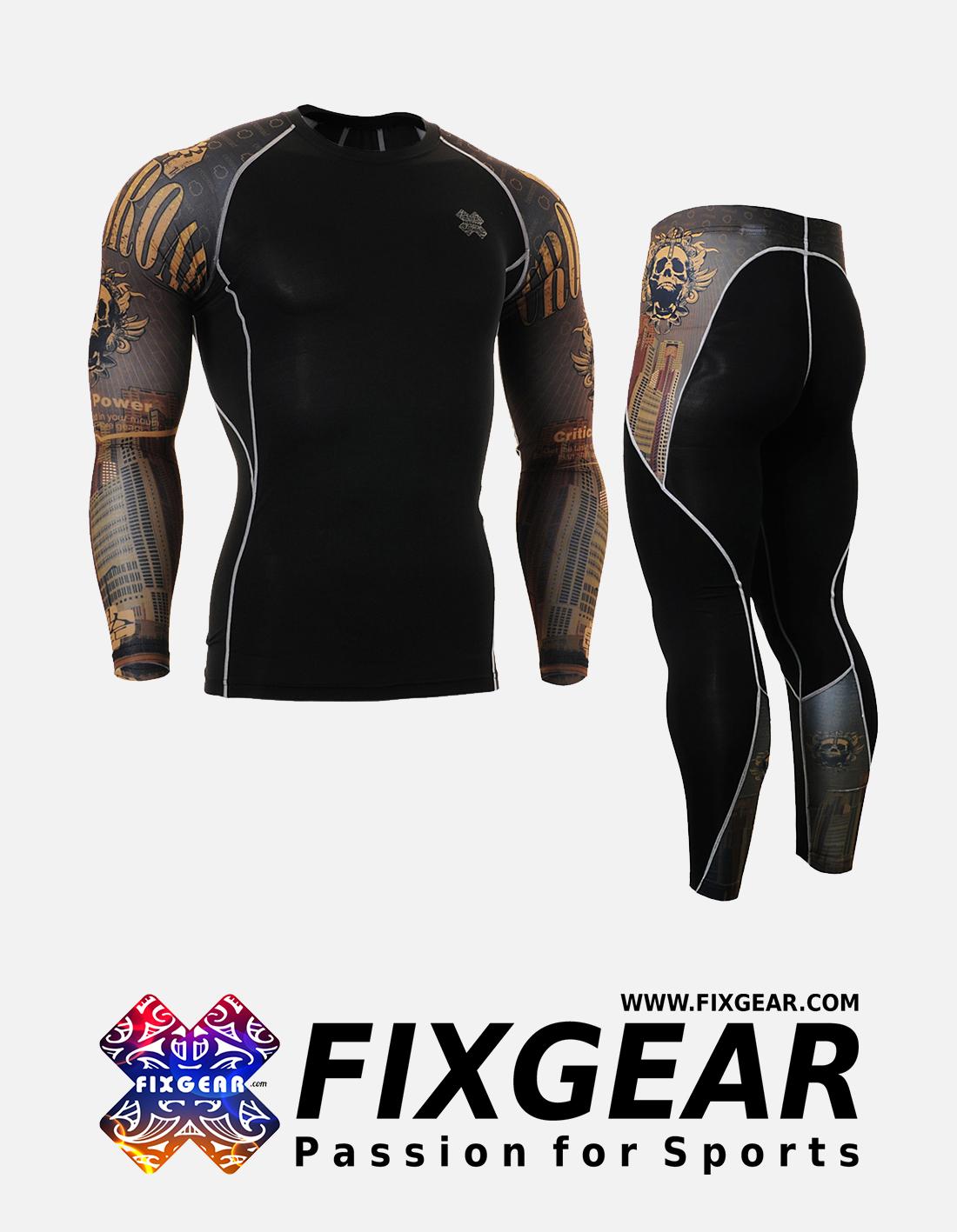 FIXGEAR CPD-P2L-B27 Set Compression Base Layer Shirt & Legging Pants
