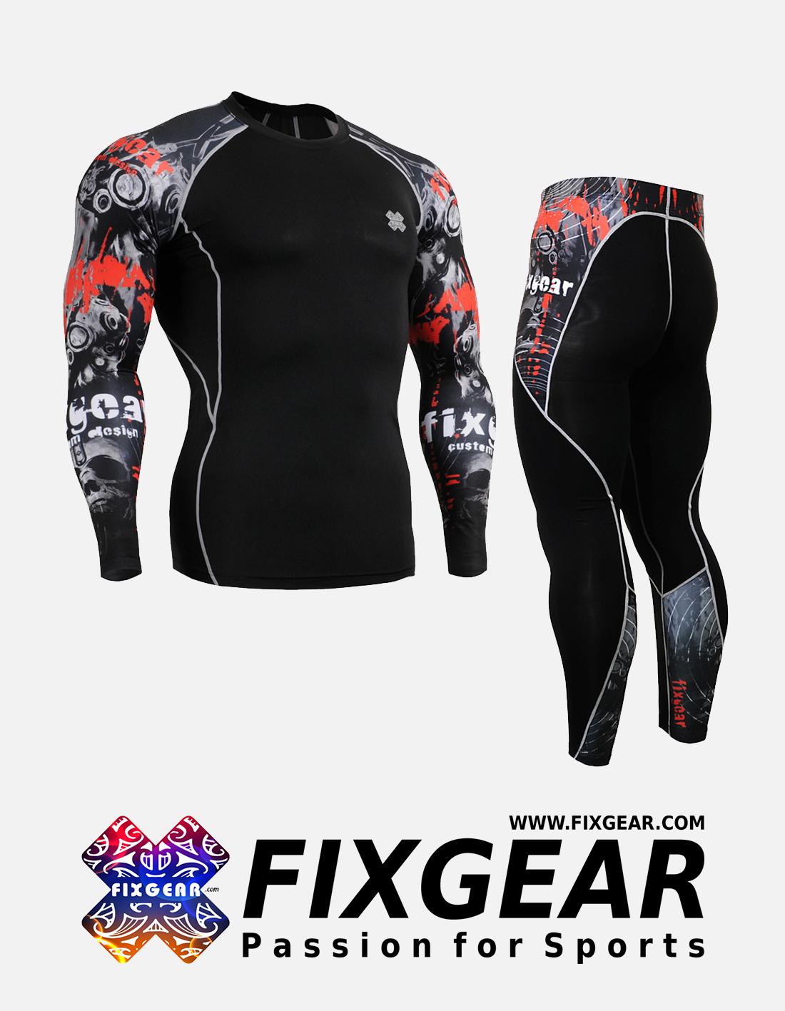 FIXGEAR CPD-P2L-B30 Set Compression Base Layer Shirt & Legging Pants