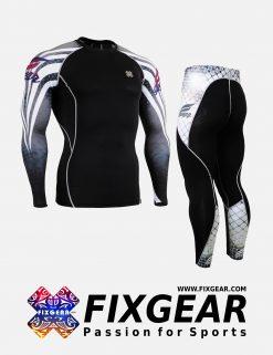 FIXGEAR CPD-P2L-B38 Set Compression Base Layer Shirt & Legging Pants