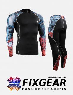 FIXGEAR CPD-P2L-B73 Set Compression Base Layer Shirt & Legging Pants