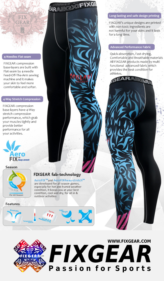 FIXGEAR FPL-H3 Compression Leggings Under Training Tights Base layer Pants MMA